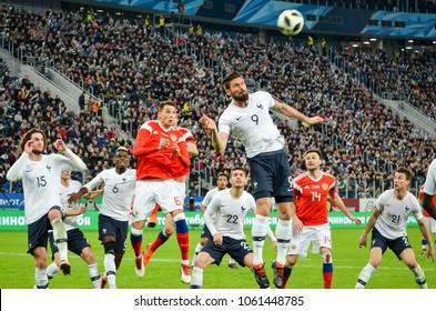 SAINT PETERSBURG, RUSSIA - March 27, 2018: Olivier Giroud during a friendly match between national team Russia and France in Saint-Petersburg Stadium, 2018, Russia