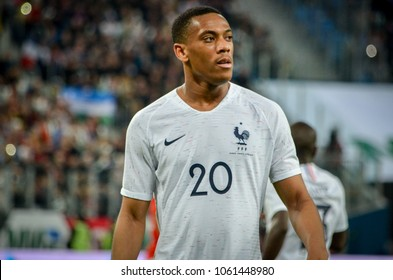 SAINT PETERSBURG, RUSSIA - March 27, 2018: Anthony Martial during a friendly match between national team Russia and France in Saint-Petersburg Stadium, 2018, Russia