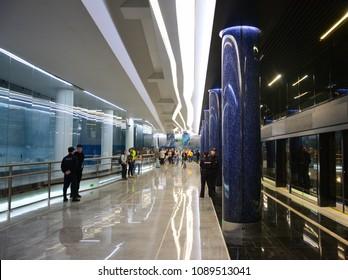 Saint Petersburg / Russia - May 13, 2018: the station Novokrestovskaya has been opened on the Line 3 of Saint Petersburg Metro near the Saint Petersburg Stadium