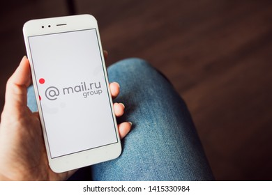 SAINT PETERSBURG, RUSSIA - MAY 14, 2019: Logo of the Russian company mail.ru group on the smartphone screen. Russian business, Illustrative editorial