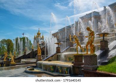 Saint Petersburg, Russia - May 14 2016: Fountains of the Lower Park in Peterhof