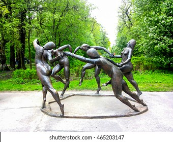 """Saint Petersburg, Russia, May 16, 2015. The sculpture """"Dance"""" based on the Henri Matisse painting in the park at the Elagin Island."""