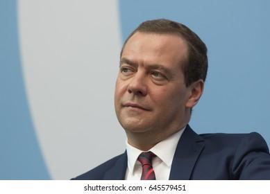 Saint Petersburg, Russia - May 17 2017. Russian Premier Dmitri Medvedev during plenary session  of the  St. Petersburg International Legal Forum.