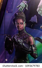 SAINT PETERSBURG, RUSSIA - MAY 18, 2018:  Letitia Wright  as Shuri on the Poster of the  Marvel's film Avengers: Infinity War in Mirage cinema in SaintPetersburg