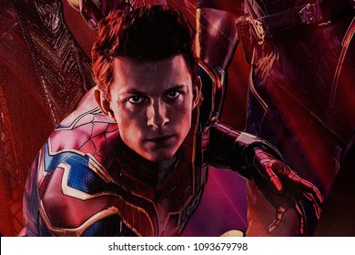 SAINT PETERSBURG, RUSSIA - MAY 18, 2018: Tom Holland as Peter Parker (Spider-Man) on the Poster of the  Marvel's film Avengers: Infinity War in Mirage cinema in SaintPetersburg