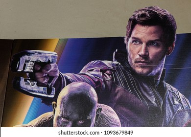 SAINT PETERSBURG, RUSSIA - MAY 18, 2018: Chris Pratt as Peter Quill (Star-Lord) on the Poster of the  Marvel's film Avengers: Infinity War in Mirage cinema in SaintPetersburg