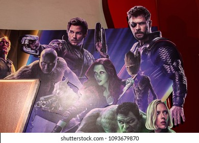 SAINT PETERSBURG, RUSSIA - MAY 18, 2018: Galaxy guardians and Thor on the Poster of the  Marvel's film Avengers: Infinity War in Mirage cinema in SaintPetersburg