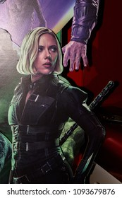 SAINT PETERSBURG, RUSSIA - MAY 18, 2018: Scarlett Johansson as Natasha Romanoff  (Black Widow) on the Poster of the  Marvel's film Avengers: Infinity War in Mirage cinema in SaintPetersburg