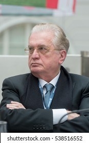 Saint Petersburg, Russia - May 18 2016. Mikhail Piotrovsky  Director of the Hermitage Museum during The St. Petersburg International Legal Forum.