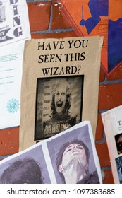 SaINT PETERSBURG, RUSSIA - MAY 19, 2018:  Paper about searching Sirius Black , Harry Potter area, local film festival.