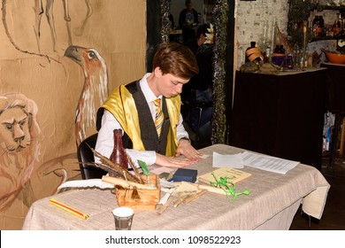 SaINT PETERSBURG, RUSSIA - MAY 19, 2018: Unidentified boy weas hogwarts uniform, Harry Potter area, local film and game festival.