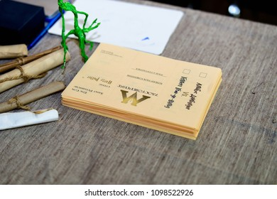 SaINT PETERSBURG, RUSSIA - MAY 19, 2018:  Voting paper Albus Dumbledor, Harry Potter area, local film and game festival.