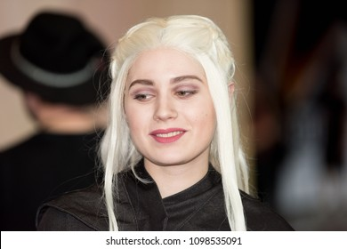 SAINT PETERSBURG, RUSSIA - MAY 19, 2018: Unidentified girl does cosplay of Daenerys Targaryen, Mother of Dragons (Game of Thrones), local film festival.