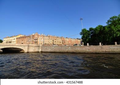 Saint Petersburg, Russia - may 2016: a view of the city of St. Petersburg, the Fontanka river embankment. Saint-Petersburg.