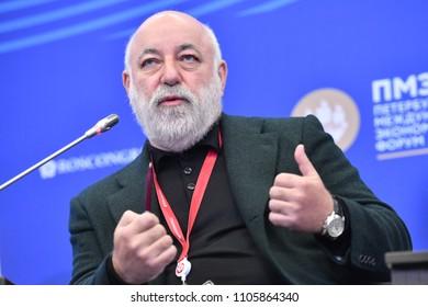 Saint Petersburg, Russia - May 24 2018.  Viktor Vekselberg - Russian entrepreneur, billionaire, President of SKOLKOVO Foundation at the St. Petersburg International Economic Forum 2018.