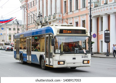Saint Petersburg, Russia - May 25, 2013: Urban trolleybus BKM 321 in the city street.
