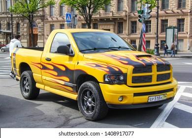 Saint Petersburg, Russia - May 25, 2013: Tuned pickup truck Dodge Ram in the city street.