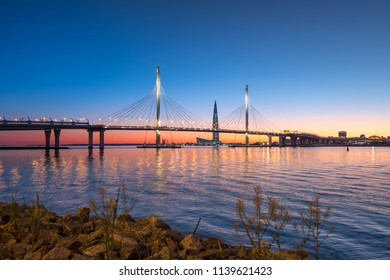 SAINT PETERSBURG, RUSSIA - MAY 28, 2018: The cable-stayed bridge across the Petrovsky fairway of the western high-speed diameter and skyscraper Lahta center. St. Petersburg. Russia