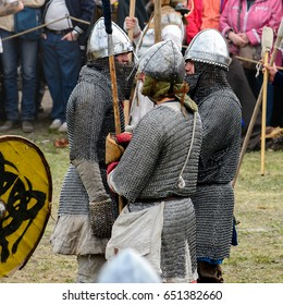 SAINT PETERSBURG, RUSSIA - MAY 28, 2017: Imitation of the knight battle at the viking festival on the Day of the City of S.-Petersburg