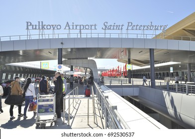 SAINT PETERSBURG, RUSSIA - MAY 3, 2017: Pulkovo International Airport - building exterior.