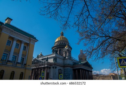 Saint Petersburg ,Russia. - May 4th,2014. : The Saint Isaac's Cathedral is the largest Beaufitul Russian Orthodox Cathedral in st. pertersburg city ,calls this church in russian is Isaakievskiy Sobor.