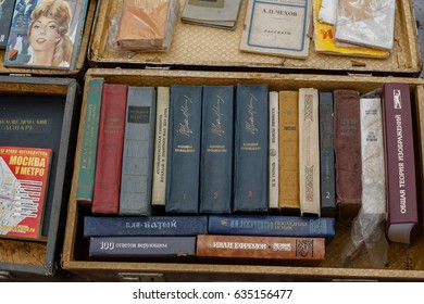 Saint Petersburg, Russia, May 7, 2017: household items of the Soviet Union at the flea market