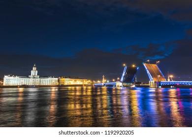 Saint Petersburg Russia, night city skyline at Palace Bridge