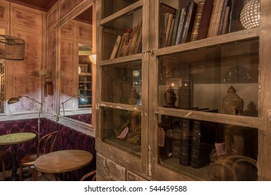 """Saint Petersburg, Russia - November  10 2016. The cozy restaurant-library in the city center. The restaurant's name in Russian is a play on words. You can read """"we are married"""" or """"we're on you"""""""