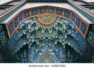 Saint Petersburg, RUSSIA November 11, 2019 : Detail of Islamic pattern on ceiling of The Saint Petersburg Mosque the Islamic architecture in Saint Petersburg, Russia.