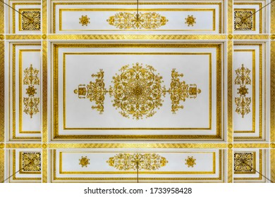Saint Petersburg, RUSSIA November 13, 2019 : Ceiling Decoration of The State Hermitage Museum, Popular Tourist attraction in Saint Petersburg, Russia.