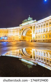 Saint Petersburg, RUSSIA November 13, 2019 : Night view of Triumphal Arch at The Palace Square at Winter Palace or The State Hermitage Museum, Popular Tourist attraction in Saint Petersburg, Russia.