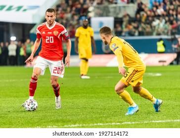 Saint Petersburg, Russia – November 16, 2019. Russia midfielder Aleksei Ionov and Belgium winger Thorgan Hazard during UEFA Euro 2020 qualification match Russia vs Belgium (1-4).
