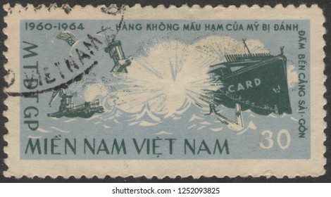 Saint Petersburg, Russia - November 27, 2018: Postage stamp printed in Vietnam with the image of the sea battle. Vietnam war, circa 1964.