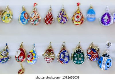 Saint Petersburg, Russia - October 05, 2015: Ornate Faberge egg souvenirs on display in the official store at the Faberge museum for sale for tourists