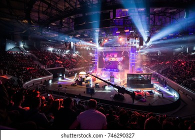 SAINT PETERSBURG, RUSSIA - OCTOBER 2017: Counter Strike: Global Offensive cyber sport event. Main venue and the screen with event's logo
