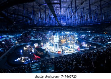 SAINT PETERSBURG, RUSSIA - OCTOBER 2017: Counter Strike: Global Offensive cyber sport event. Main venue and the big screens at the center of the stage