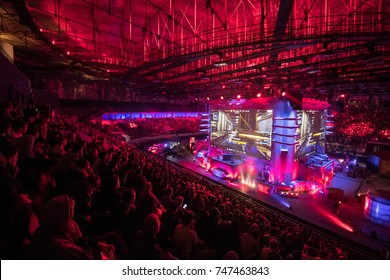 SAINT PETERSBURG, RUSSIA - OCTOBER 2017: Counter Strike: Global Offensive cyber sport event. Main venue and the big screens at the center of the stage full of fans