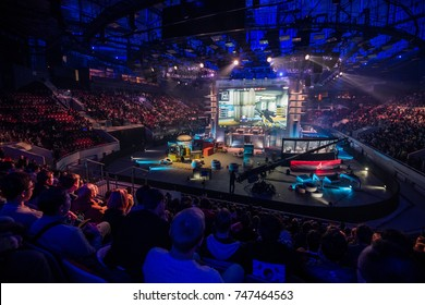 SAINT PETERSBURG, RUSSIA - OCTOBER 2017: Counter Strike: Global Offensive cyber sport event. Main venue stage and the screen with live picture from the game