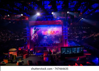 SAINT PETERSBURG, RUSSIA - OCTOBER 2017: Counter Strike: Global Offensive cyber sport event. Main venue and the screen
