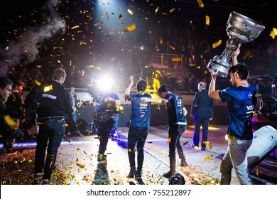 SAINT PETERSBURG, RUSSIA - OCTOBER 2017: Counter Strike: Global Offensive cyber sport event. Winners brazilian team SK Gaming on a main stage picks up the main cup. Celebrating a win