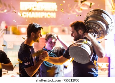 SAINT PETERSBURG, RUSSIA - OCTOBER 2017: Counter Strike: Global Offensive cyber sport event. Brazilian winner team SK Gaming celebrates after the grand final match staying together