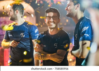 SAINT PETERSBURG, RUSSIA - OCTOBER 2017: Counter Strike: Global Offensive cyber sport event. Most valuable player MVP of the grand final match Marcelo coldzera David staying happy after