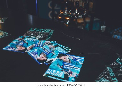 Saint Petersburg, Russia - October 27, 2019: Korean coverdance festival ETO 2019 in club Aurora Concert Hall; kpop flyers