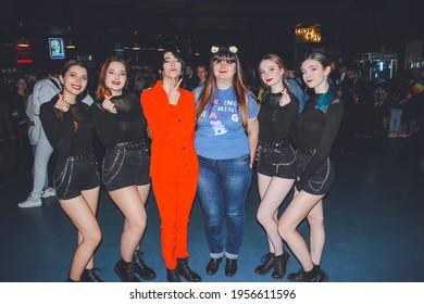 Saint Petersburg, Russia - October 27, 2019: Korean coverdance festival ETO 2019 in club Aurora Concert Hall; kpop fan with cover dance team of Korean idol Taemin
