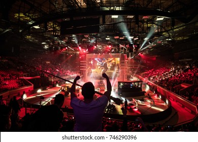 SAINT PETERSBURG, RUSSIA - OCTOBER 28 2017: EPICENTER Counter Strike: Global Offensive cyber sport event. Main venue and fan of one of the teams in front.