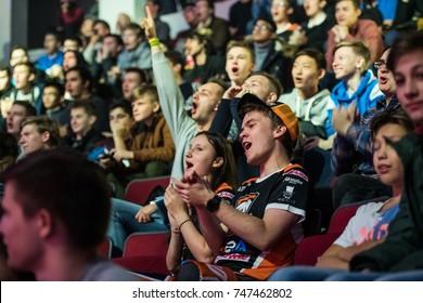 SAINT PETERSBURG, RUSSIA - OCTOBER 28 2017: EPICENTER Counter Strike: Global Offensive cyber sport event. Team Virtus.pro fans