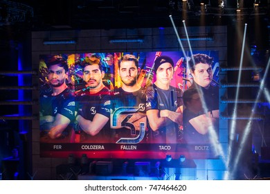 SAINT PETERSBURG, RUSSIA - OCTOBER 28 2017: EPICENTER Counter Strike: Global Offensive cyber sport event. Main venue's screen with SK Gaming squad team