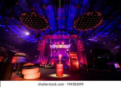 SAINT PETERSBURG, RUSSIA - OCTOBER 29 2017: EPICENTER Counter Strike: Global Offensive cyber sport event. Main stage of the tournament, trophy, big screen and a lot of illumination and lights