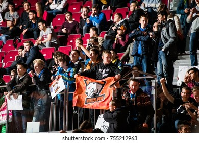 SAINT PETERSBURG, RUSSIA - OCTOBER 29 2017: EPICENTER Counter Strike: Global Offensive cyber sport event. Team virtus.pro fans cheering for their favorite team during grand final match
