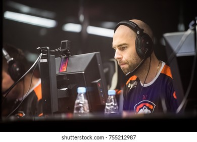 SAINT PETERSBURG, RUSSIA - OCTOBER 29 2017: EPICENTER Counter Strike: Global Offensive cyber sport event. Virtus.pro professional gamer at player's cabin during grand final match of the tournament